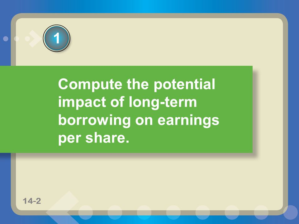 11-214-2 Compute the potential impact of long-term borrowing on earnings per share. 1 14-2