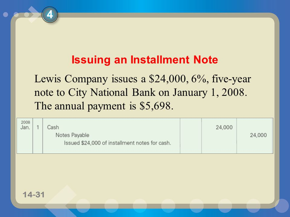 11-3114-31 Issuing an Installment Note Lewis Company issues a $24,000, 6%, five-year note to City National Bank on January 1, 2008.