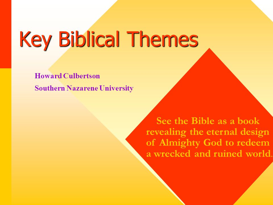 Key Biblical Themes 1. Covenant 2. Deliverance / Redemption 3.