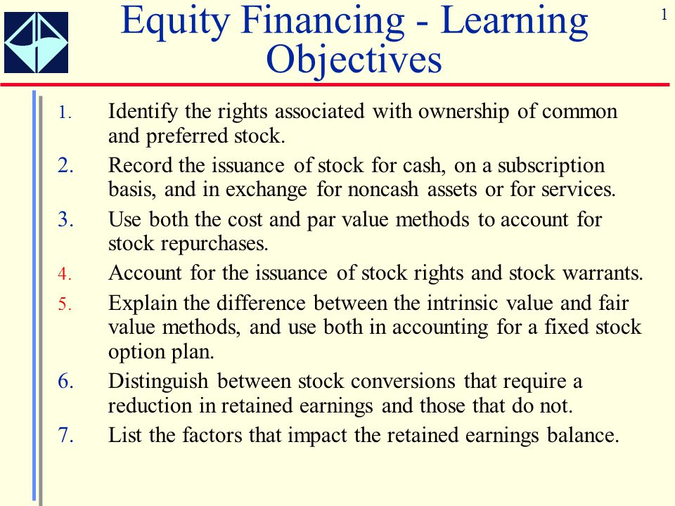 1 Equity Financing - Learning Objectives 1. Identify the rights associated with ownership of common and preferred stock. 2.Record the issuance of stoc