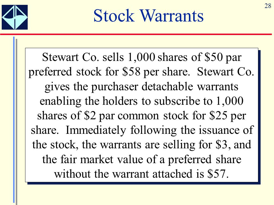 28 Stock Warrants Stewart Co. sells 1,000 shares of $50 par preferred stock for $58 per share. Stewart Co. gives the purchaser detachable warrants ena