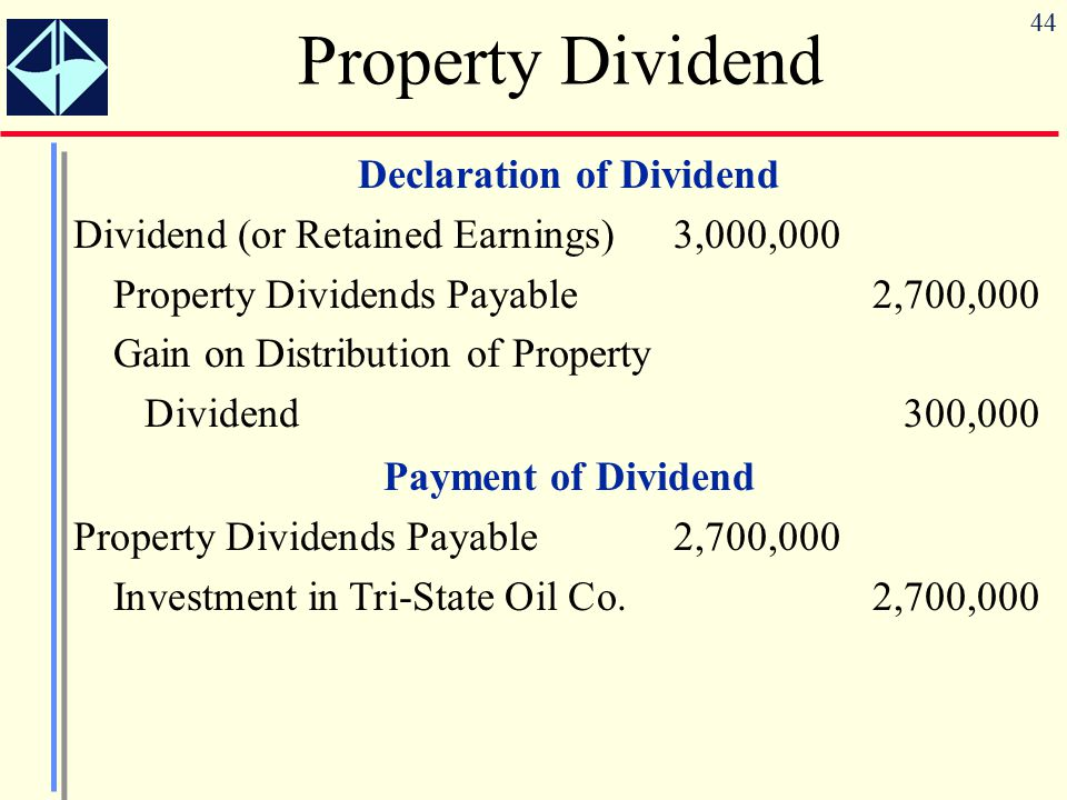 44 Declaration of Dividend Dividend (or Retained Earnings)3,000,000 Property Dividends Payable2,700,000 Gain on Distribution of Property Dividend300,0