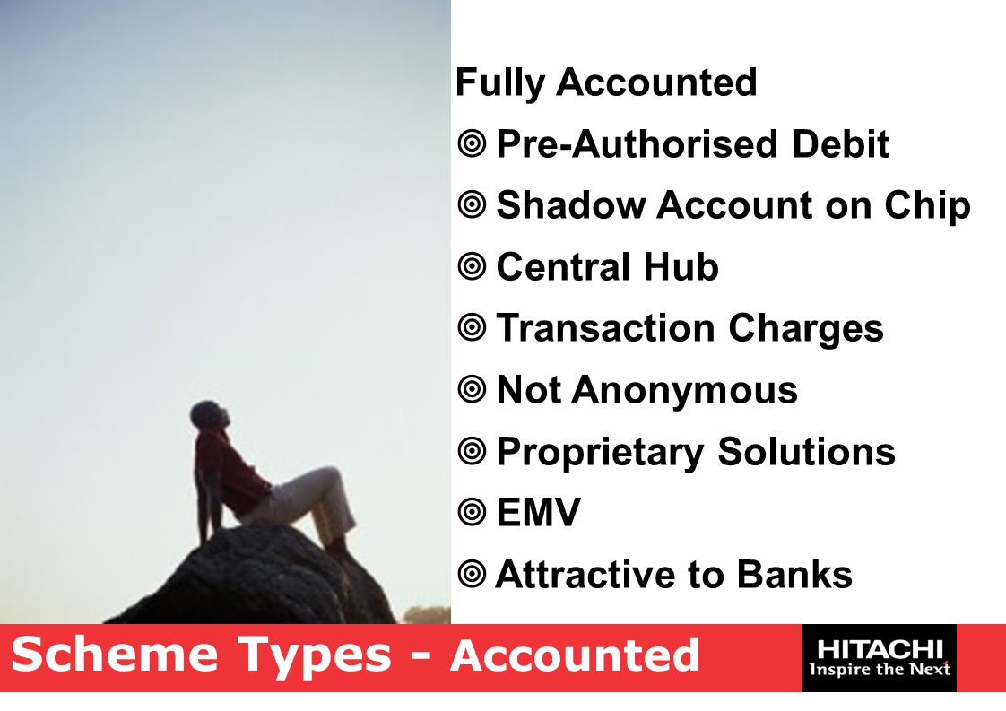Scheme Types - Accounted Fully Accounted  Pre-Authorised Debit  Shadow Account on Chip  Central Hub  Transaction Charges  Not Anonymous  Proprie
