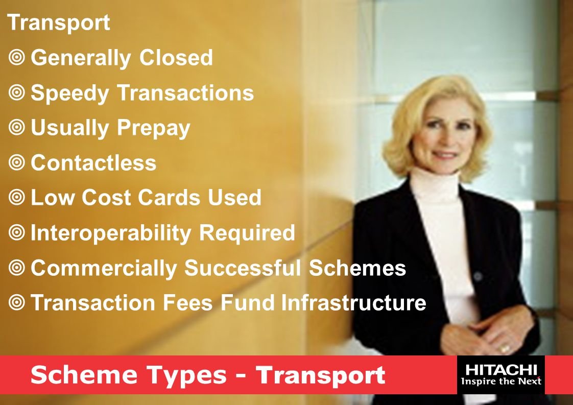 Scheme Types - Transport Transport  Generally Closed  Speedy Transactions  Usually Prepay  Contactless  Low Cost Cards Used  Interoperability Re