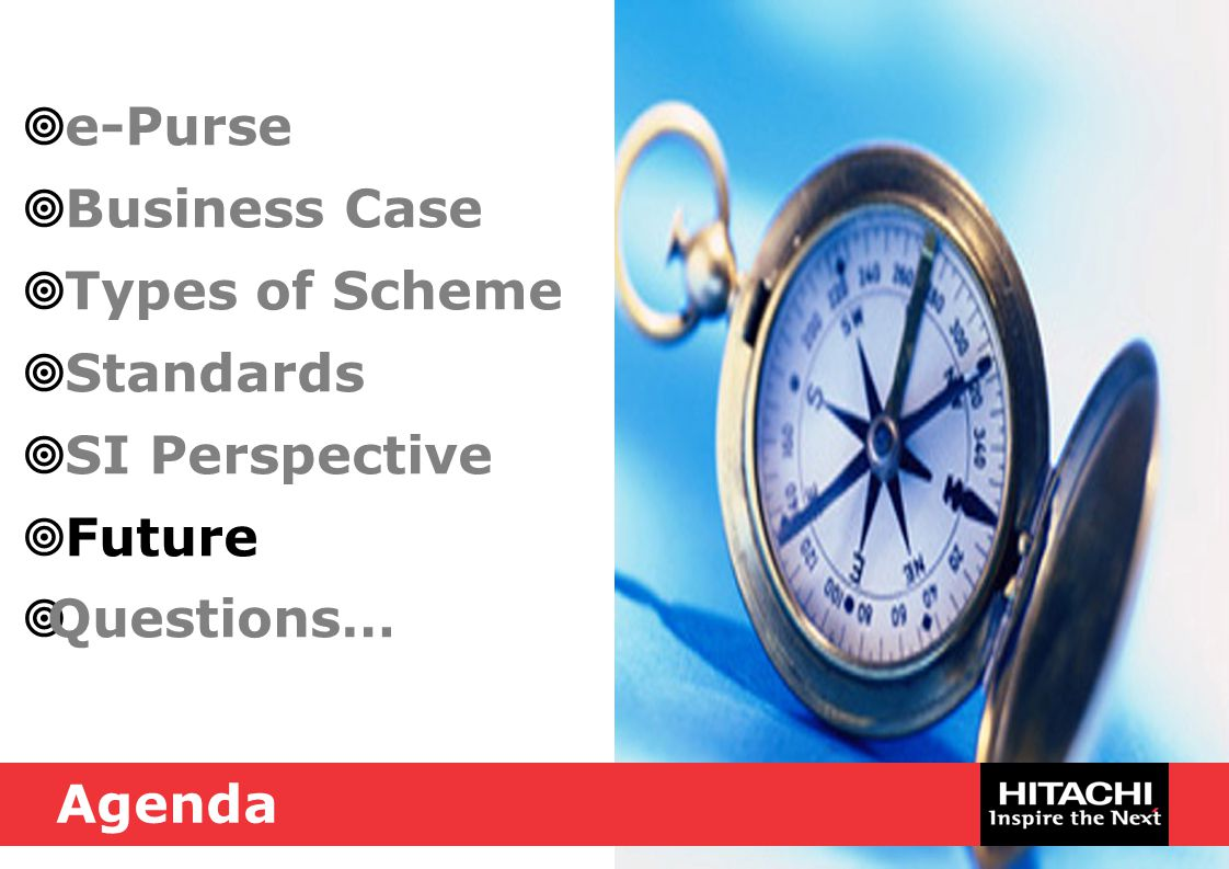  e-Purse  Business Case  Types of Scheme  Standards  SI Perspective  Future  Questions… Agenda