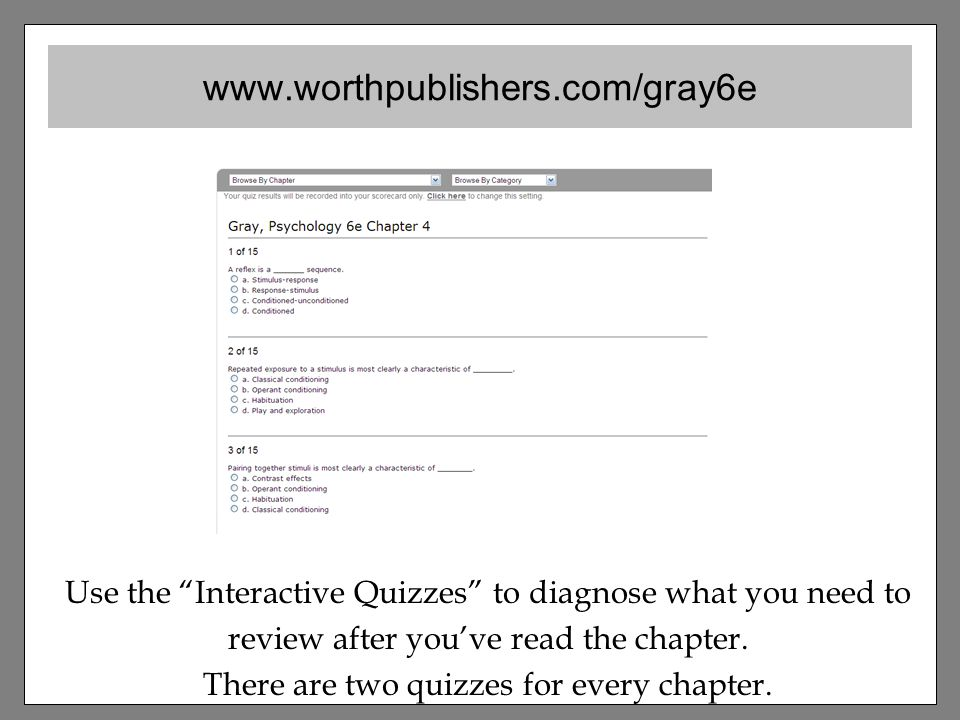 Use the Interactive Quizzes to diagnose what you need to review after you've read the chapter.