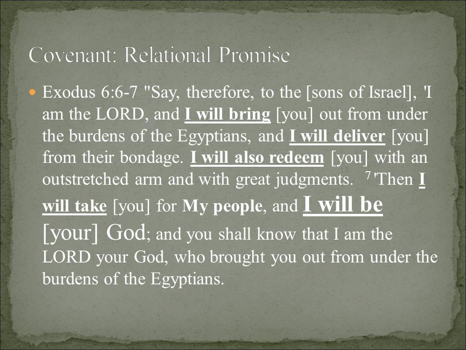 Exodus 6:6-7 Say, therefore, to the [sons of Israel], I am the LORD, and I will bring [you] out from under the burdens of the Egyptians, and I will deliver [you] from their bondage.