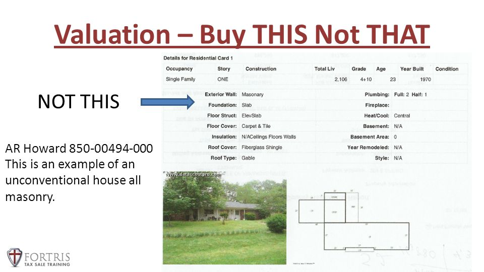 Valuation – Buy THIS Not THAT Special Operations Mastery Event 2013 NOT THIS AR Howard 850-00494-000 This is an example of an unconventional house all masonry.