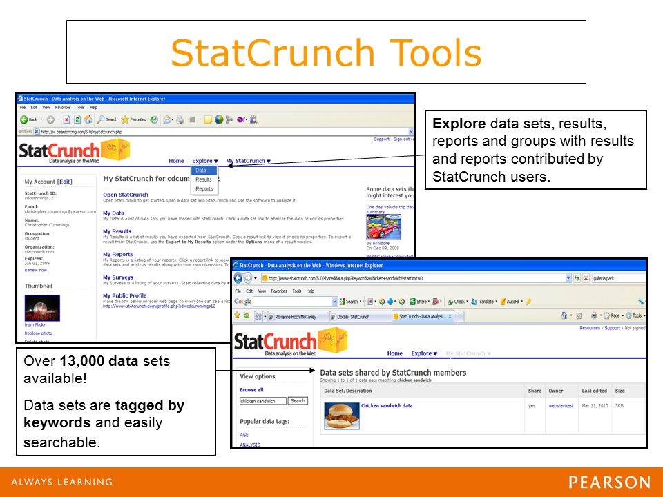 Explore data sets, results, reports and groups with results and reports contributed by StatCrunch users.