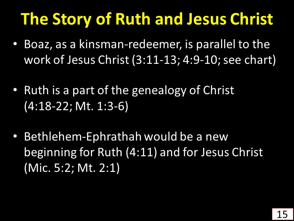 The Story of Ruth and Jesus Christ Boaz, as a kinsman-redeemer, is parallel to the work of Jesus Christ (3:11-13; 4:9-10; see chart) Ruth is a part of