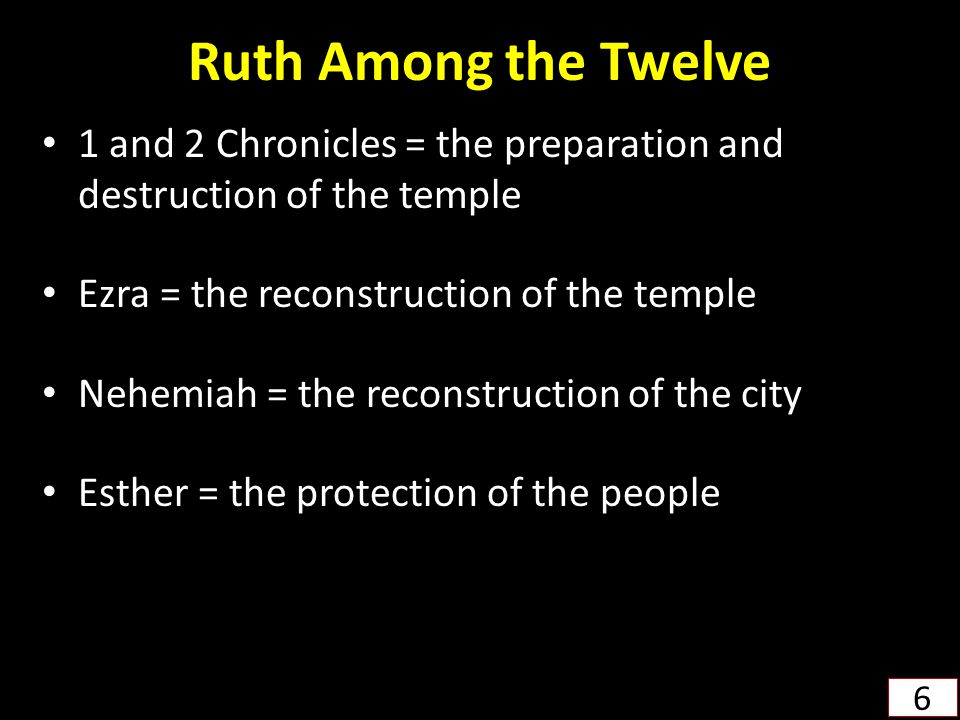 Ruth Among the Twelve 1 and 2 Chronicles = the preparation and destruction of the temple Ezra = the reconstruction of the temple Nehemiah = the recons
