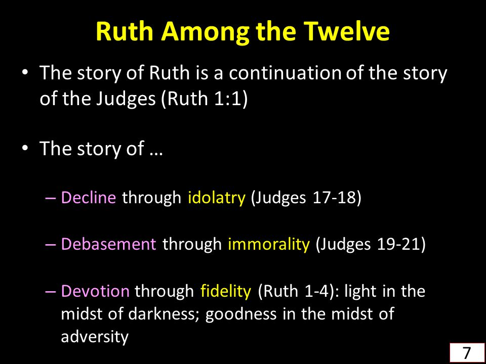 Ruth Among the Twelve The story of Ruth is a continuation of the story of the Judges (Ruth 1:1) The story of … – Decline through idolatry (Judges 17-1