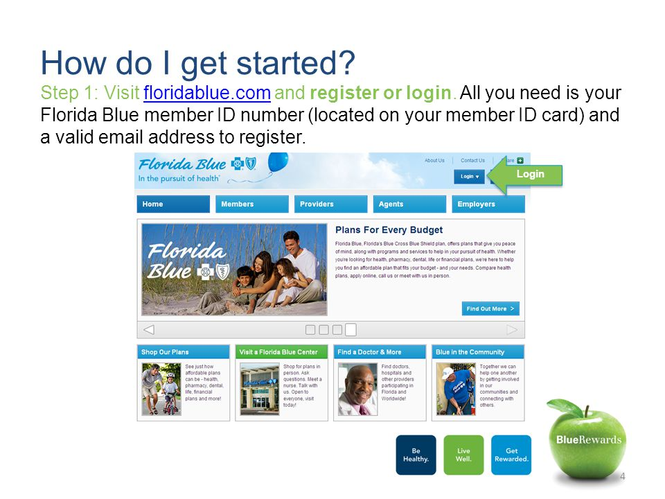 Step 1: Visit floridablue.com and register or login.