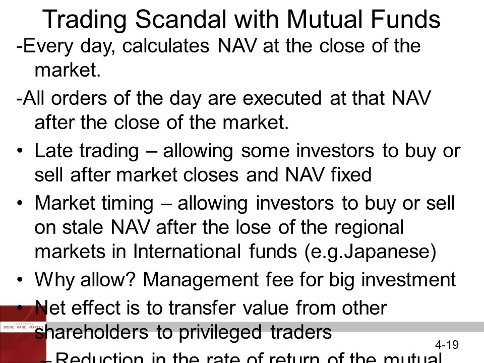 4-19 Trading Scandal with Mutual Funds -Every day, calculates NAV at the close of the market.