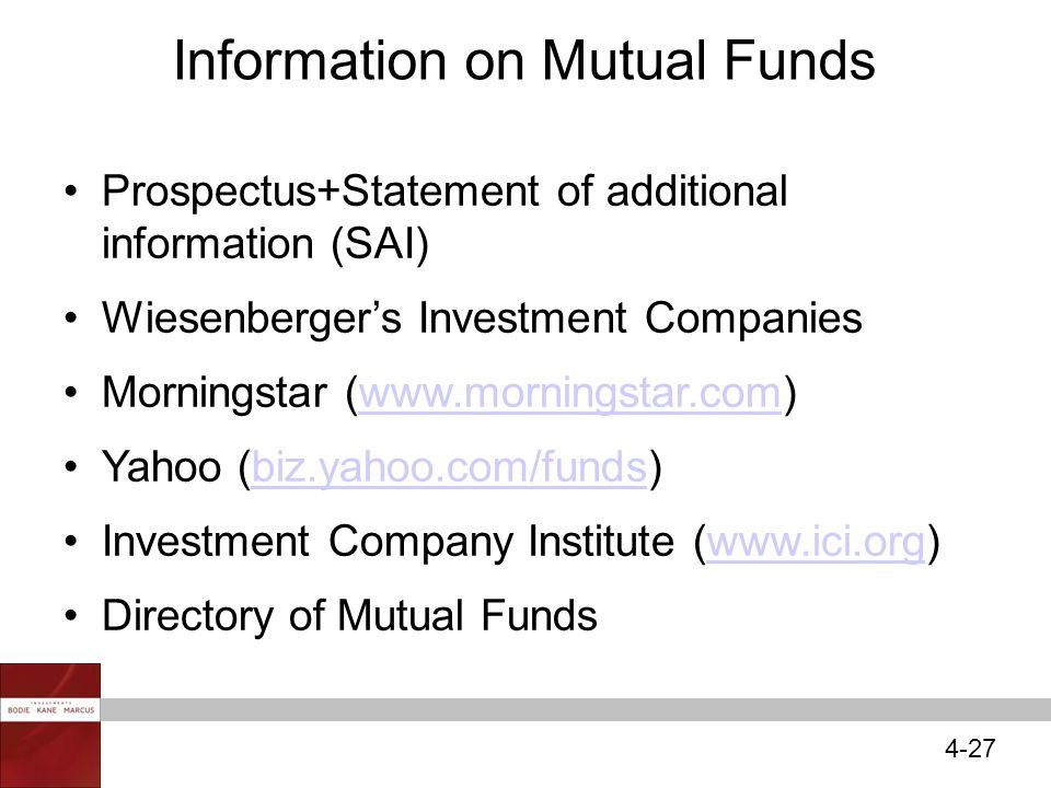 4-27 Information on Mutual Funds Prospectus+Statement of additional information (SAI) Wiesenberger's Investment Companies Morningstar (www.morningstar.com)www.morningstar.com Yahoo (biz.yahoo.com/funds)biz.yahoo.com/funds Investment Company Institute (www.ici.org)www.ici.org Directory of Mutual Funds