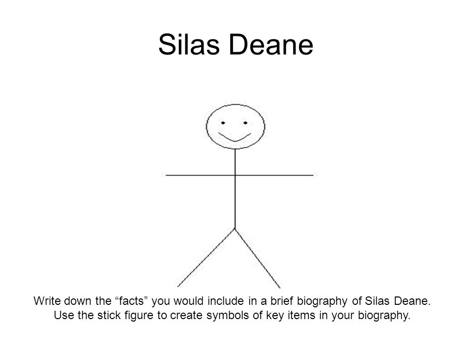 "Silas Deane Write down the ""facts"" you would include in a brief biography of Silas Deane. Use the stick figure to create symbols of key items in your"