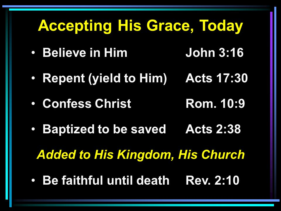 Accepting His Grace, Today Believe in HimJohn 3:16 Repent (yield to Him) Acts 17:30 Confess ChristRom.