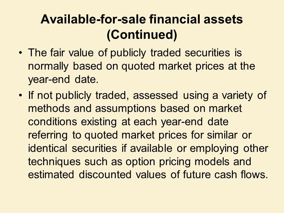Available-for-sale financial assets (Continued) The fair value of publicly traded securities is normally based on quoted market prices at the year-end date.
