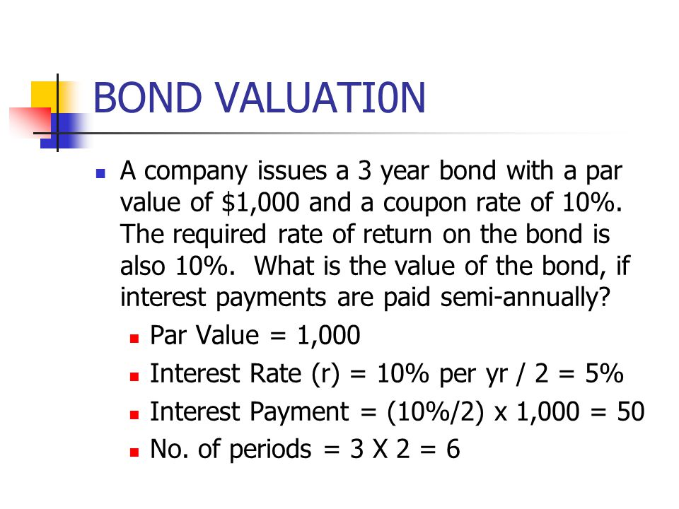 BOND VALUATI0N A company issues a 3 year bond with a par value of $1,000 and a coupon rate of 10%. The required rate of return on the bond is also 10%