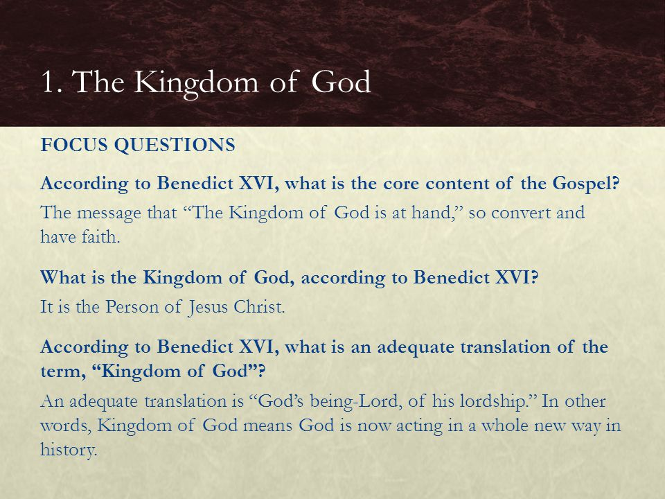 "According to Benedict XVI, what is the core content of the Gospel? The message that ""The Kingdom of God is at hand,"" so convert and have faith. What i"