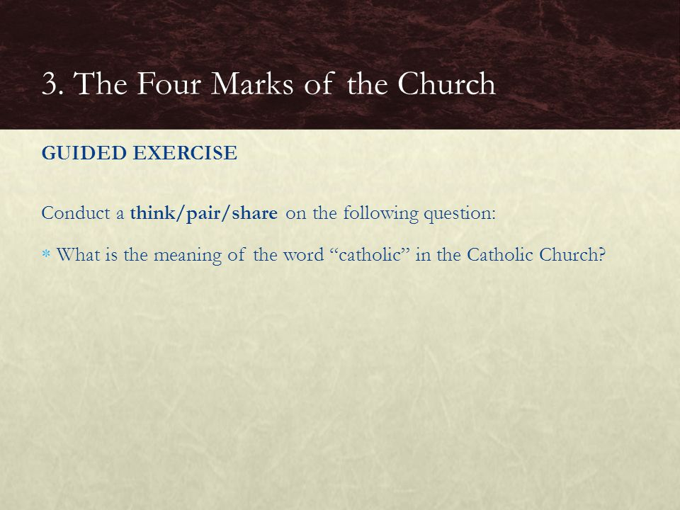 "GUIDED EXERCISE Conduct a think/pair/share on the following question:  What is the meaning of the word ""catholic"" in the Catholic Church? 3. The Four"