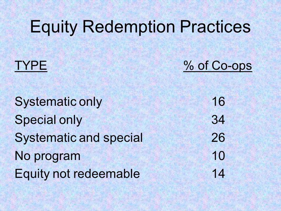 Equity Redemption Practices TYPE% of Co-ops Systematic only16 Special only34 Systematic and special26 No program10 Equity not redeemable14