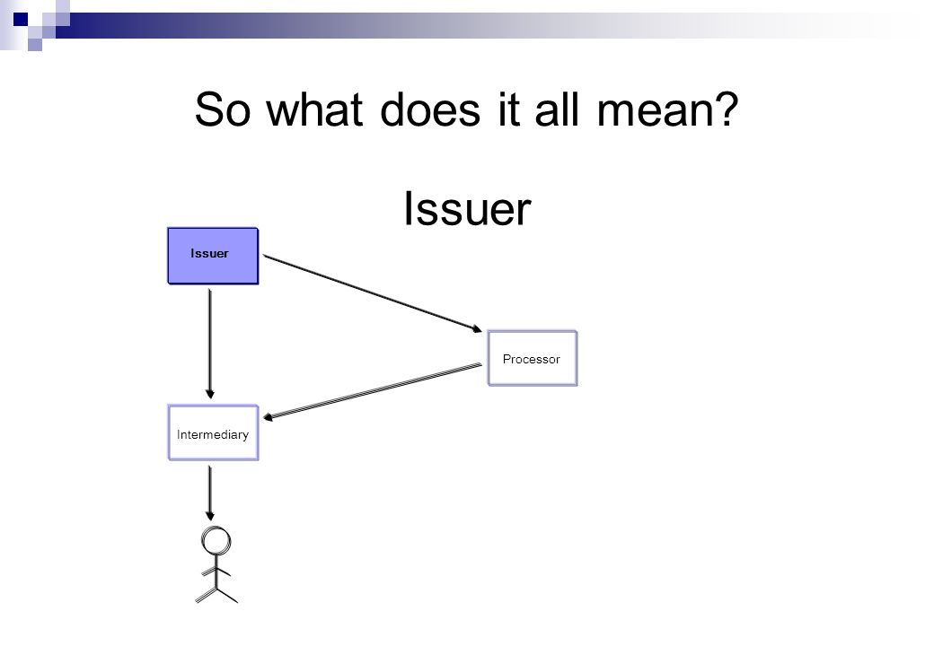 Issuer So what does it all mean Issuer Processor Intermediary
