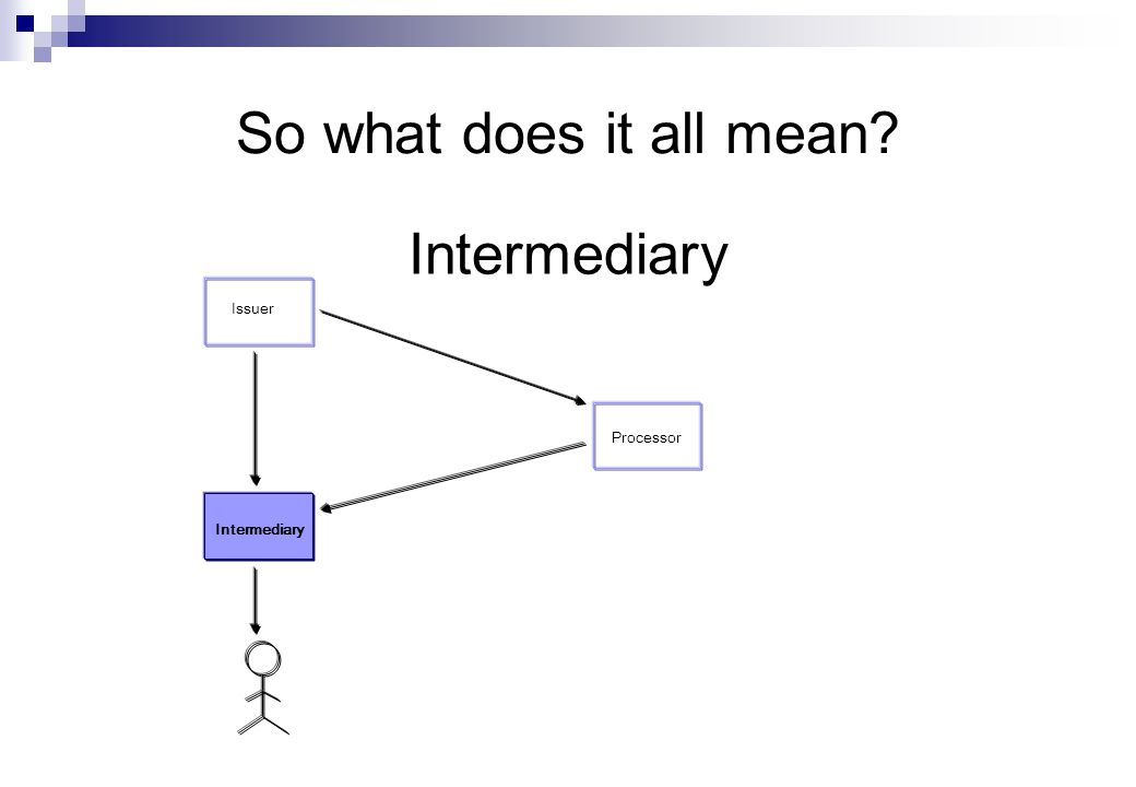 So what does it all mean Intermediary Issuer Processor