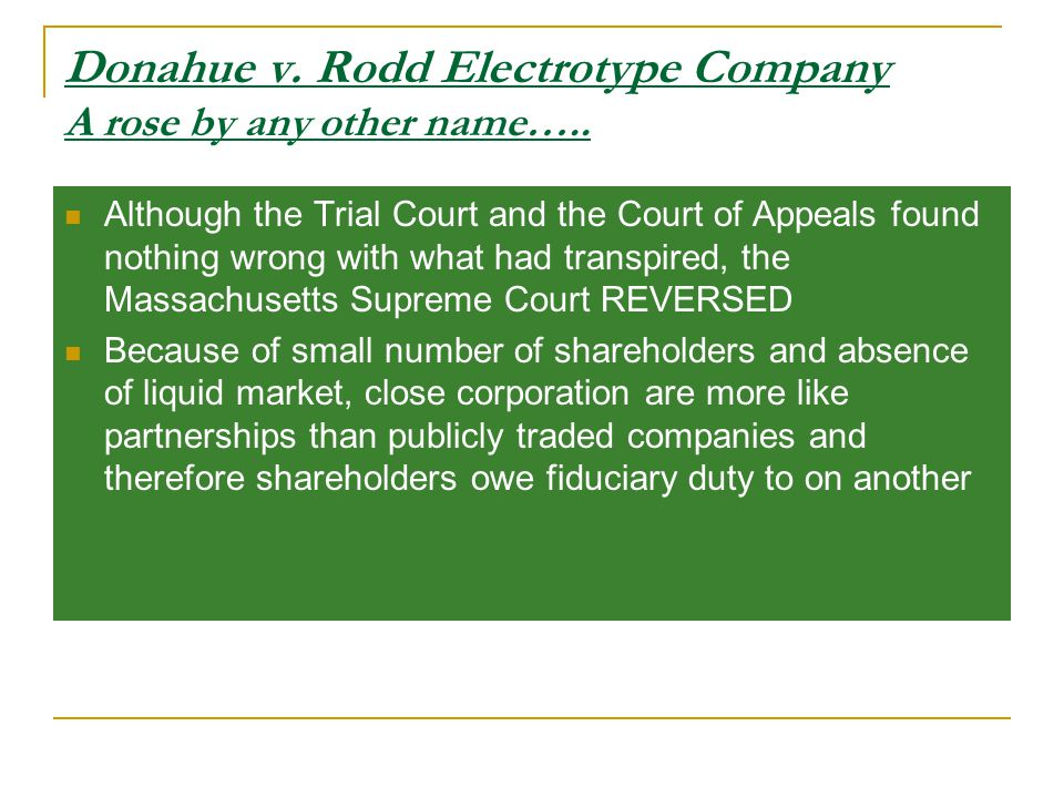 Donahue v. Rodd Electrotype Company A rose by any other name…..