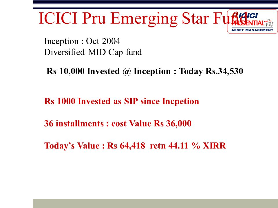 ICICI Pru Emerging Star Fund Inception : Oct 2004 Diversified MID Cap fund Rs 10,000 Invested @ Inception : Today Rs.34,530 Rs 1000 Invested as SIP since Incpetion 36 installments : cost Value Rs 36,000 Today's Value : Rs 64,418 retn 44.11 % XIRR