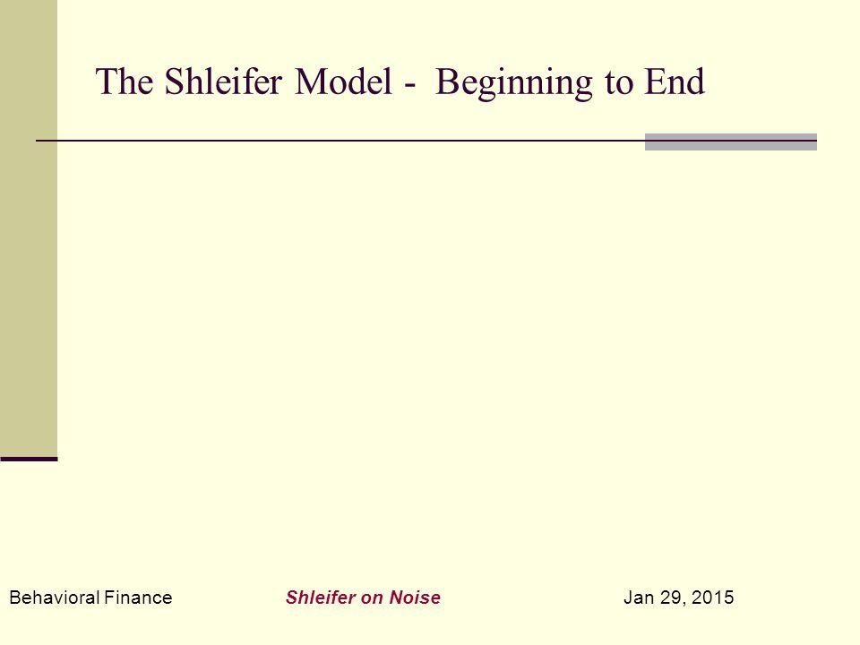 Behavioral Finance Shleifer on Noise Jan 29, 2015 The Shleifer Model - Beginning to End