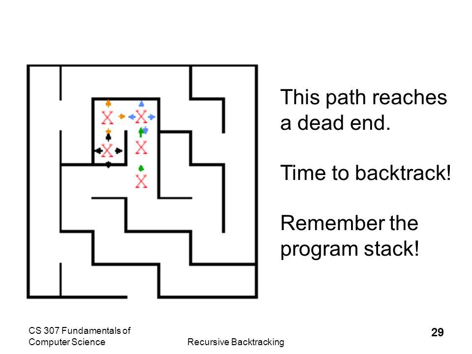 CS 307 Fundamentals of Computer ScienceRecursive Backtracking 30 The recursive calls end and return until we find ourselves back here.
