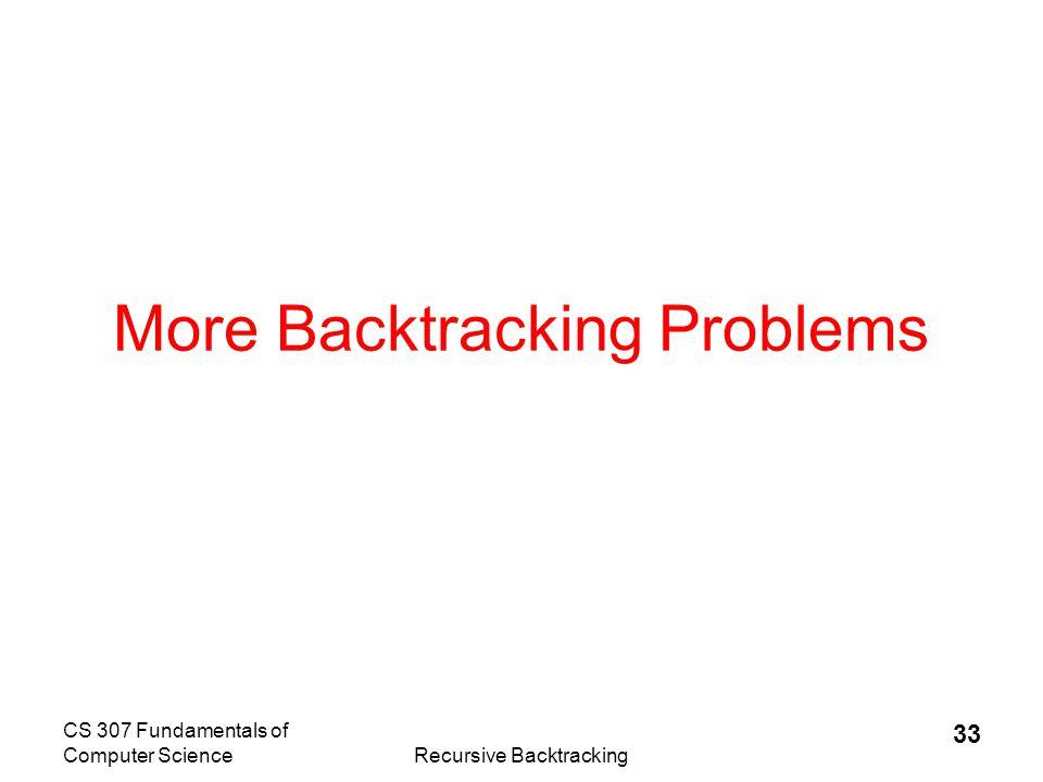 CS 307 Fundamentals of Computer ScienceRecursive Backtracking 34 Other Backtracking Problems  Knight s Tour  Regular Expressions  Knapsack problem / Exhaustive Search –Filling a knapsack.
