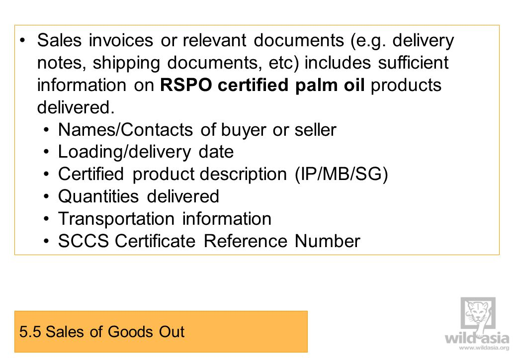 Sales invoices or relevant documents (e.g.