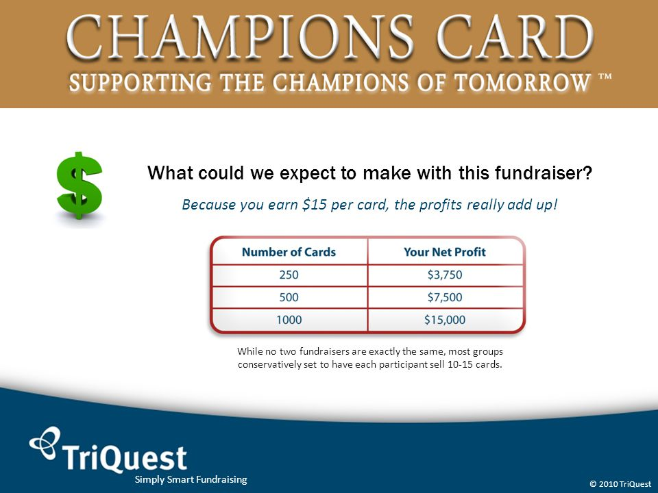 Simply Smart Fundraising © 2010 TriQuest What could we expect to make with this fundraiser? Because you earn $15 per card, the profits really add up!