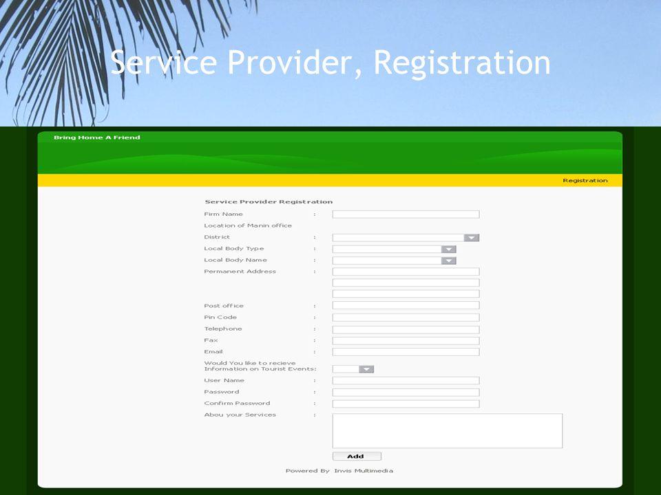 Service Provider, Registration