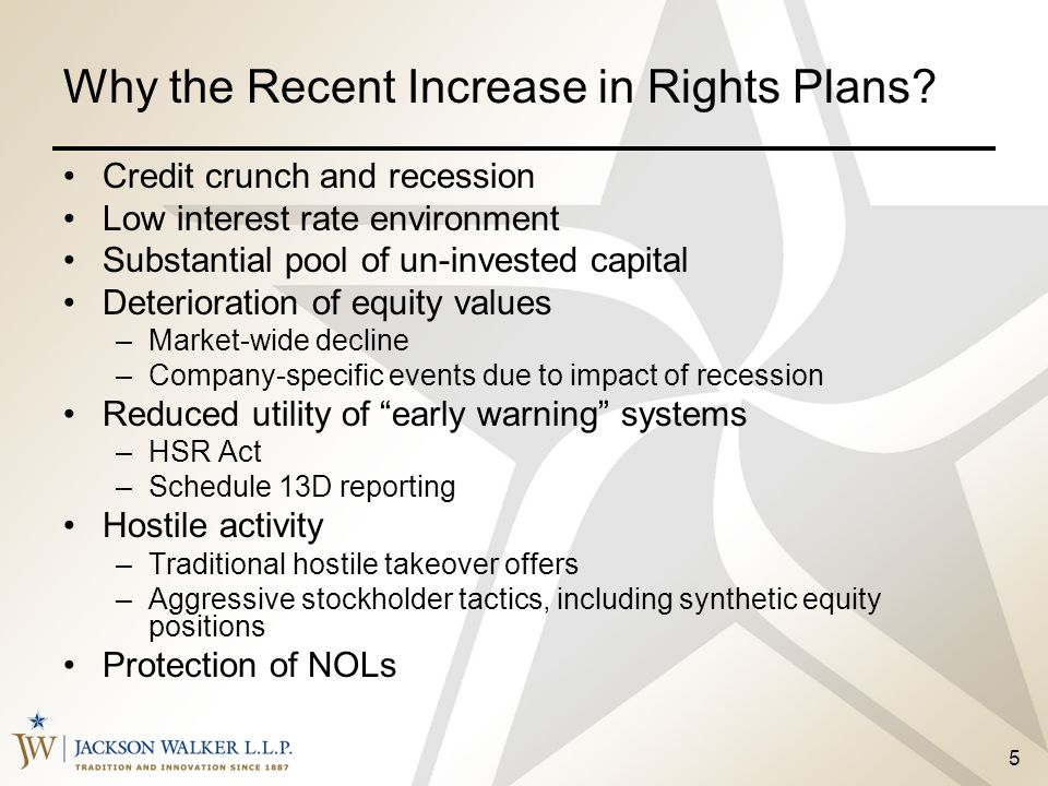 5 Credit crunch and recession Low interest rate environment Substantial pool of un-invested capital Deterioration of equity values –Market-wide declin