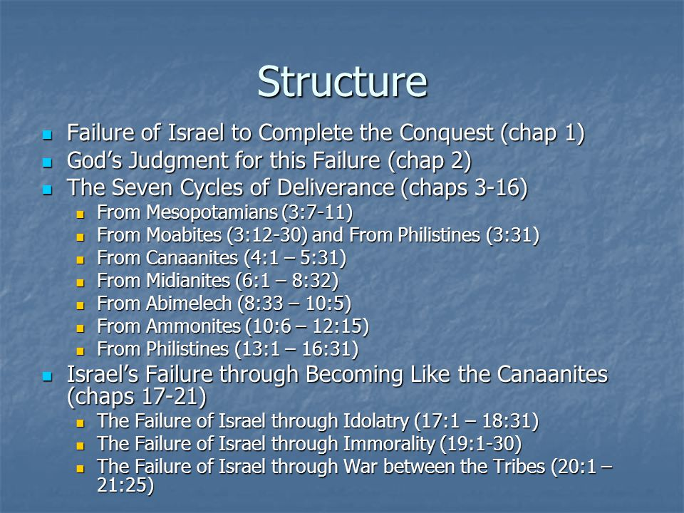 Structure Failure of Israel to Complete the Conquest (chap 1) Failure of Israel to Complete the Conquest (chap 1) God's Judgment for this Failure (cha