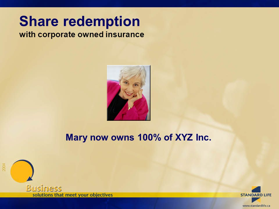 2004 Mary now owns 100% of XYZ Inc. Share redemption with corporate owned insurance