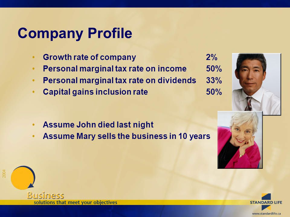 2004 Company Profile Growth rate of company2% Personal marginal tax rate on income50% Personal marginal tax rate on dividends33% Capital gains inclusion rate50% Assume John died last night Assume Mary sells the business in 10 years