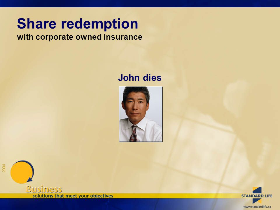 2004 Share redemption with corporate owned insurance John dies