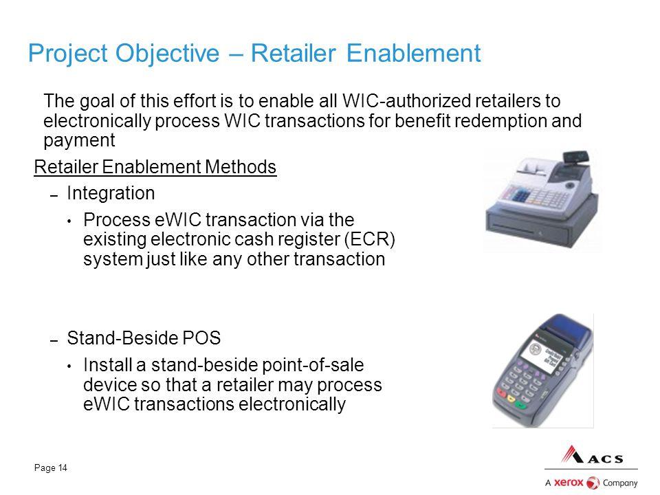 Page 14 Project Objective – Retailer Enablement Retailer Enablement Methods – Integration Process eWIC transaction via the existing electronic cash re