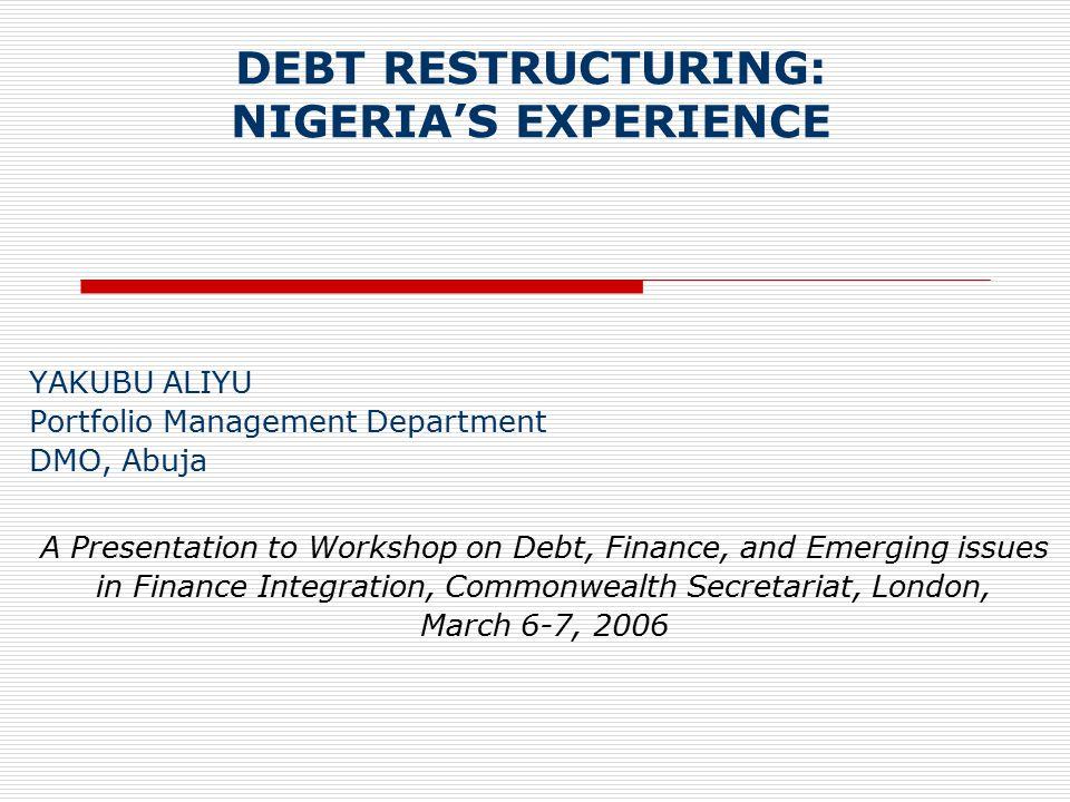 12 The Paris Club Debt Exit Strategy: Prelude Domestic front 2003: A decisive shift towards economic reform [Formulation of a Home-Grown Economic Strategy-NEEDS].