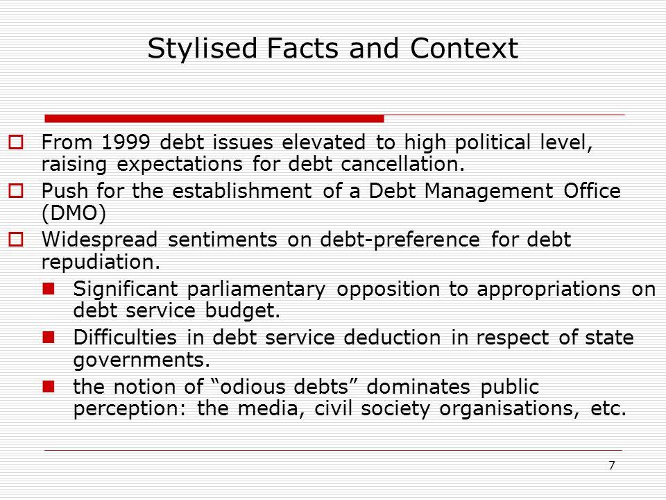 18 Post-Paris Club Public Debt Profile