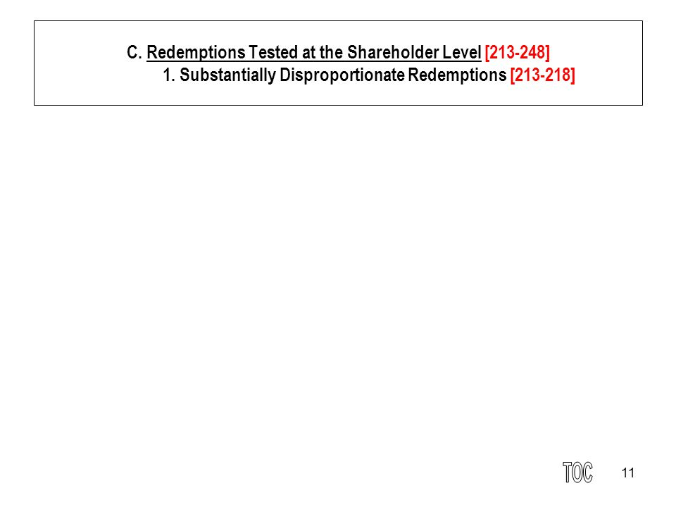 11 C. Redemptions Tested at the Shareholder Level [213-248] 1.