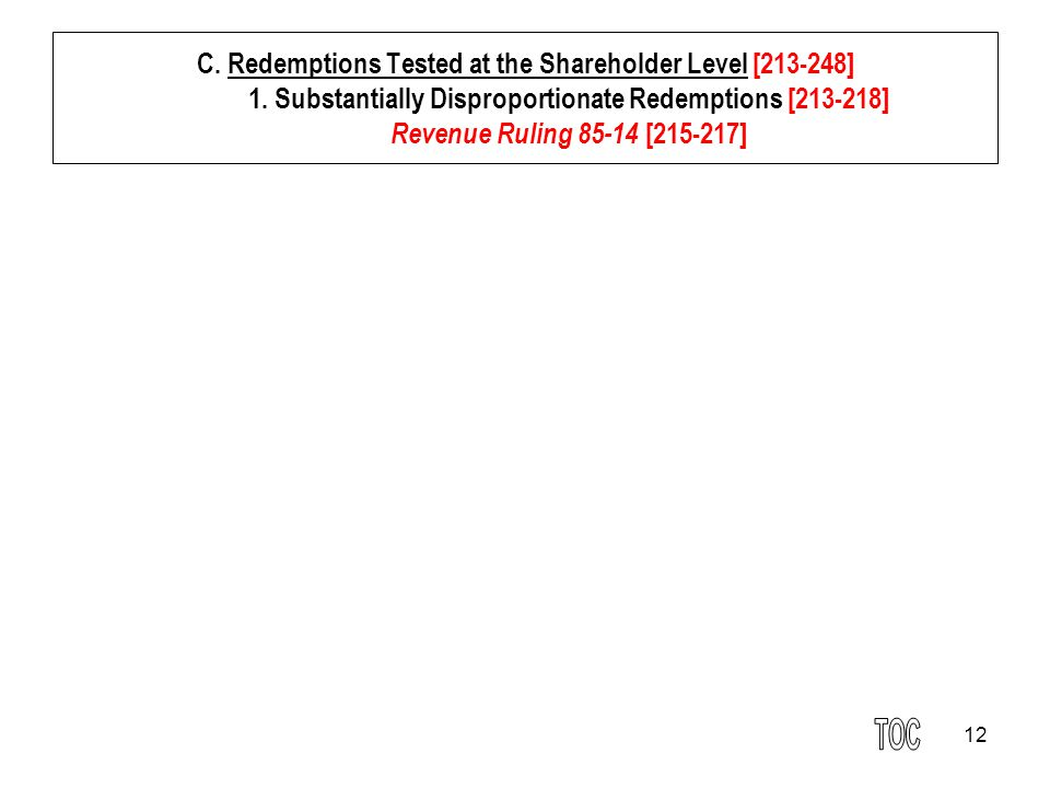 12 C. Redemptions Tested at the Shareholder Level [213-248] 1.