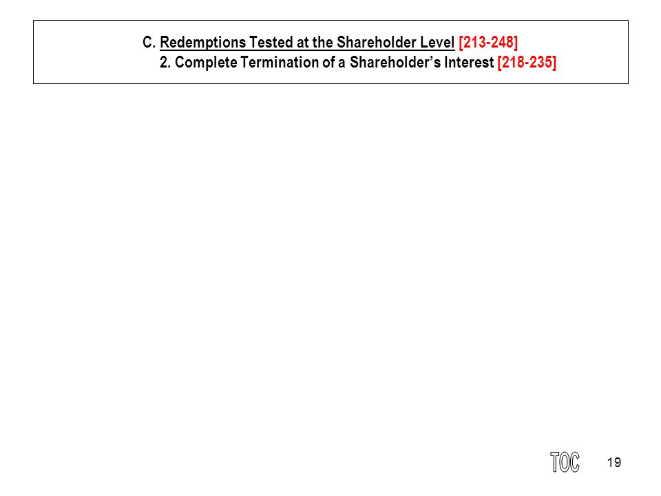 19 C. Redemptions Tested at the Shareholder Level [213-248] 2.