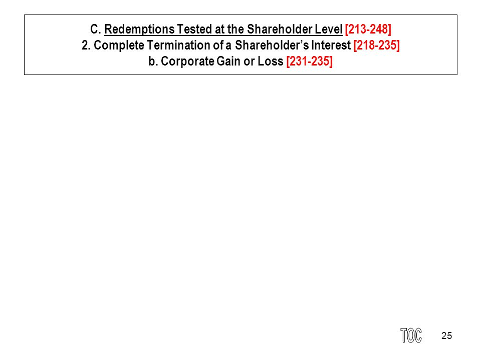 25 C. Redemptions Tested at the Shareholder Level [213-248] 2.