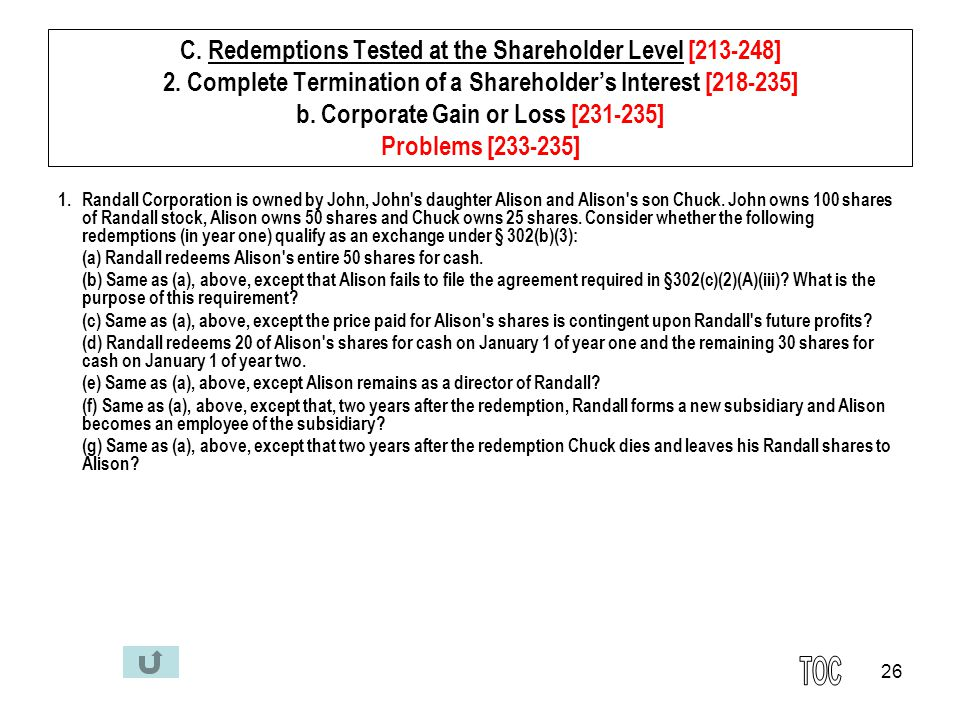 26 C. Redemptions Tested at the Shareholder Level [213-248] 2.
