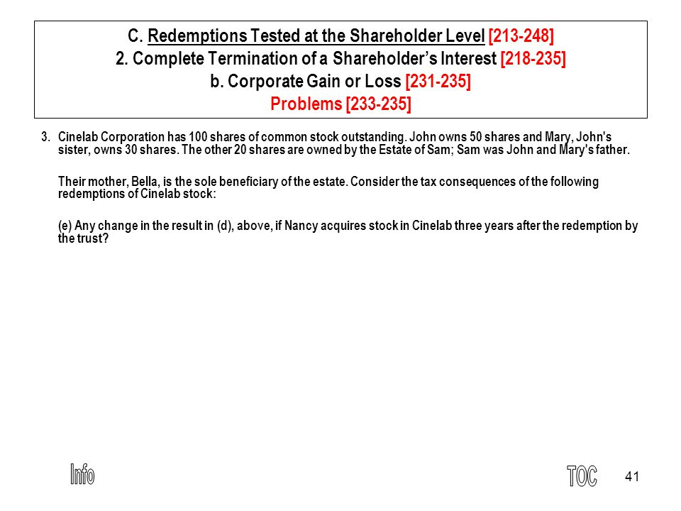 41 C. Redemptions Tested at the Shareholder Level [213-248] 2.